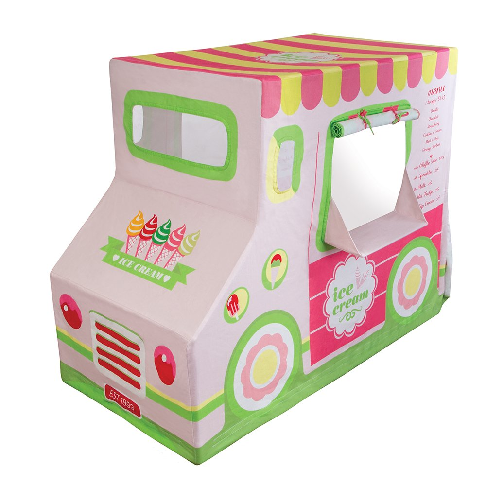 Pacific Play Tents Kids Cotton Canvas Ice Cream Truck Playhouse Tent - 50'' x 26'' x 39.5''