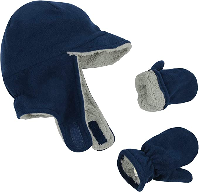 NIce Caps Little Boys and Baby Soft Sherpa Lined Fleece Dino Hat Mitten Set