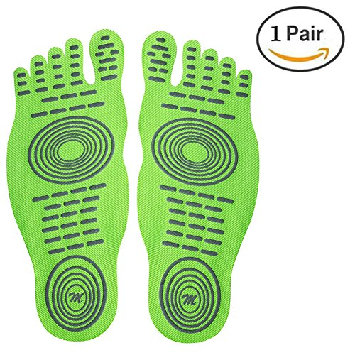 for Foot Barefoot Fluorescent Design Stick Pair Waterproof Lover with Invisible Soles Nakefit for Anti Shoes Pad Activities Summer Shoes db Adhesive Barefoot Water green 1 on and slip wYSPII