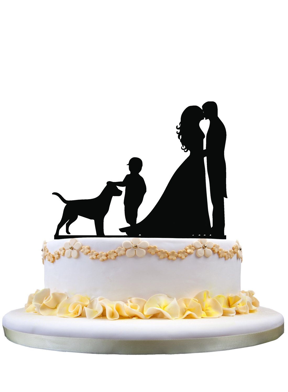 Wedding Cake Topper - Groom and Bride with a cute Boy and Dog pet acrylic topper