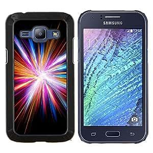 EJOOY---Cubierta de la caja de protección para la piel dura ** Samsung Galaxy J1 J100 ** --Disco Light Dios Electric City Negro