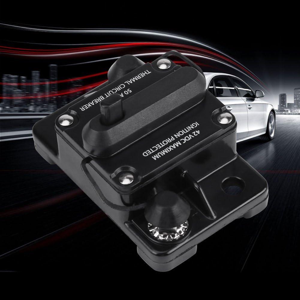 50A Manual Reset Circuit Breaker,DC12V-42V 50A-300A Car Stereo Audio Inline Circuit Breaker Manual Reset