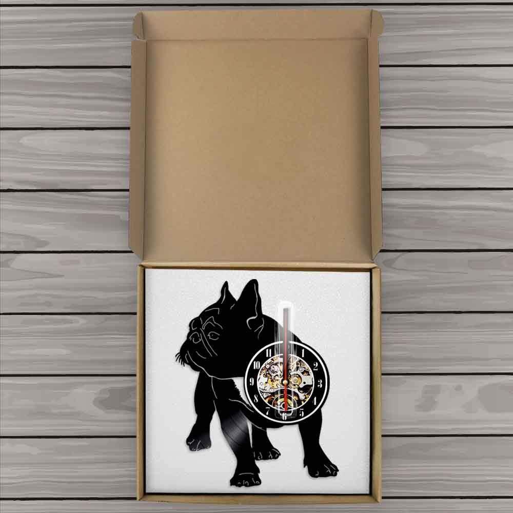 Bulldog francés silueta arte de pared reloj de pared disco de ...