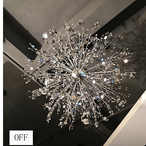 GDNS 24 Pcs Lights Chandeliers Firework LED Light Stainless Steel Crystal Pendant Lighting Ceiling Light Fixtures Chandeliers Lighting,Dia 47.5 inch