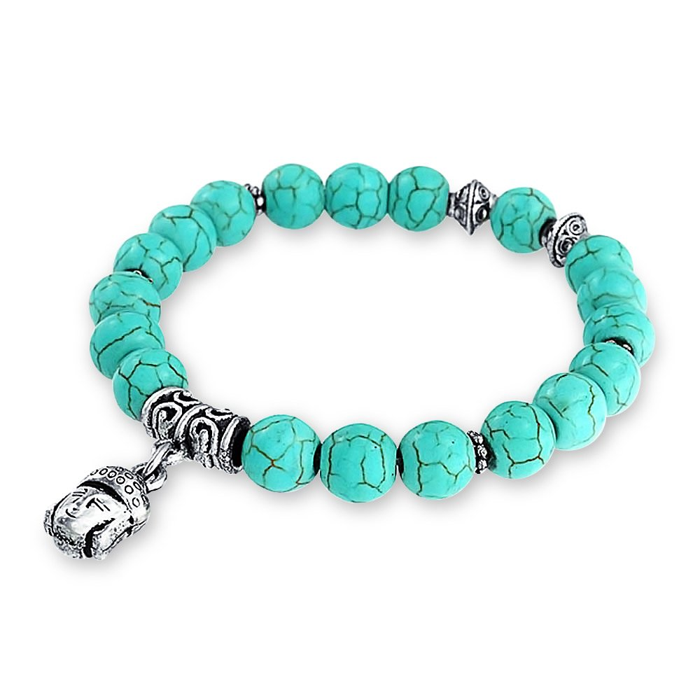 Bling Jewelry Reconstituted Turquoise Buddha Stretch Bracelet Silver Plated CB-06255