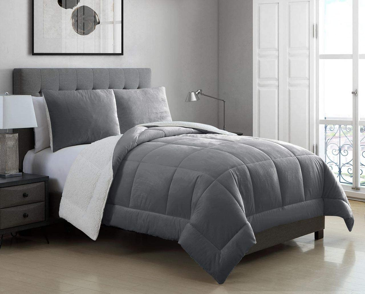 KingLinen 2 Piece Micromink Sherpa Silky Smooth Plush Oversized Gray Comforter Set Twin/Twin XL