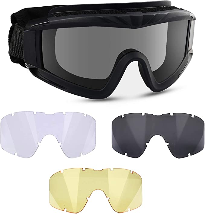 N//W Tactical Airsoft Full Face Protective Goggles Terminator Casco con 4 Pares de Gafas de Sol para Caza Paintball Military Role-Playing Movie Props