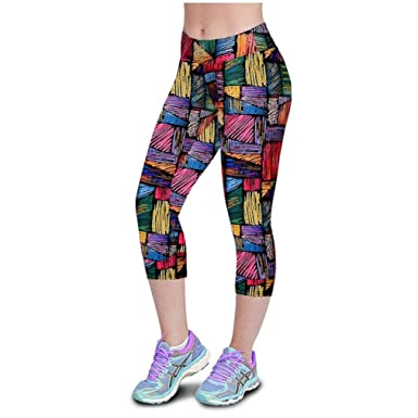 2bfd6bc68cd5cc LHWY High Waist Yoga Pants Colourful Printed Sport Stretch Cropped Gym  Leggings Patterned Tights Knee Length