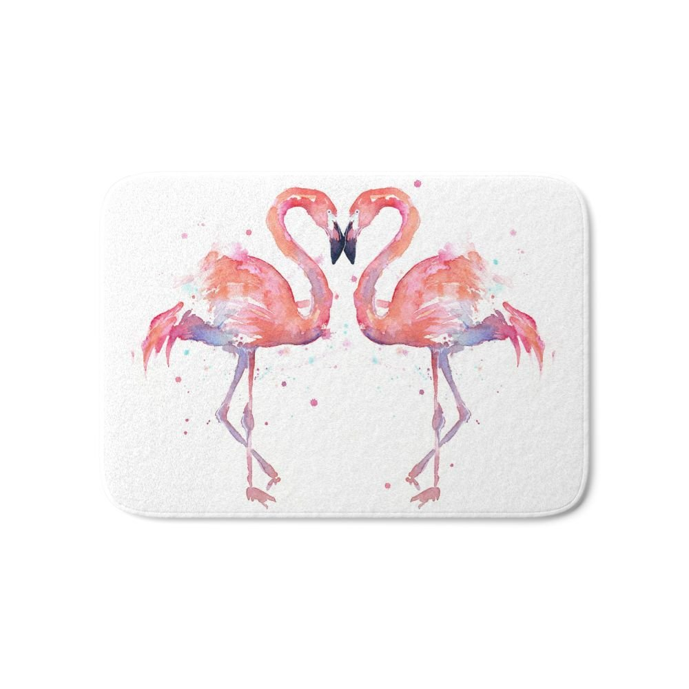 "Society6 Pink Flamingo Love Two Flamingos Bath Mat 17"" x 24"""