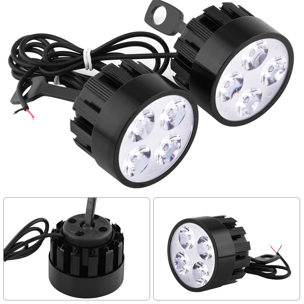 2 pcs 12V 24W Motorcycle Spotlights Waterproof Keenso Universal 4 LEDs Motorcycle Headlight Driving Fog Spot Head Light Spotlight Lamp Scooter Spot Light Auxiliary Lights