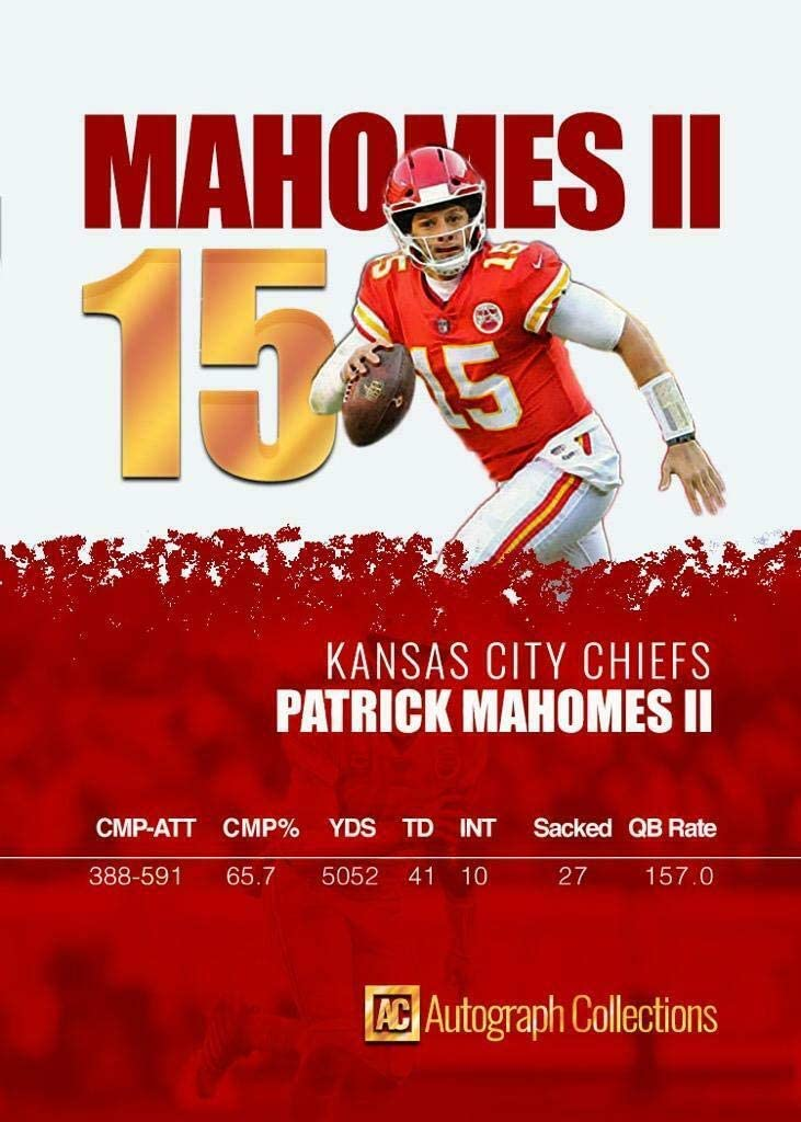 Autograph Collections Custom Made Fascimile Autograph Football Card 2017 Patrick Mahomes Rookie Football Rookie Card