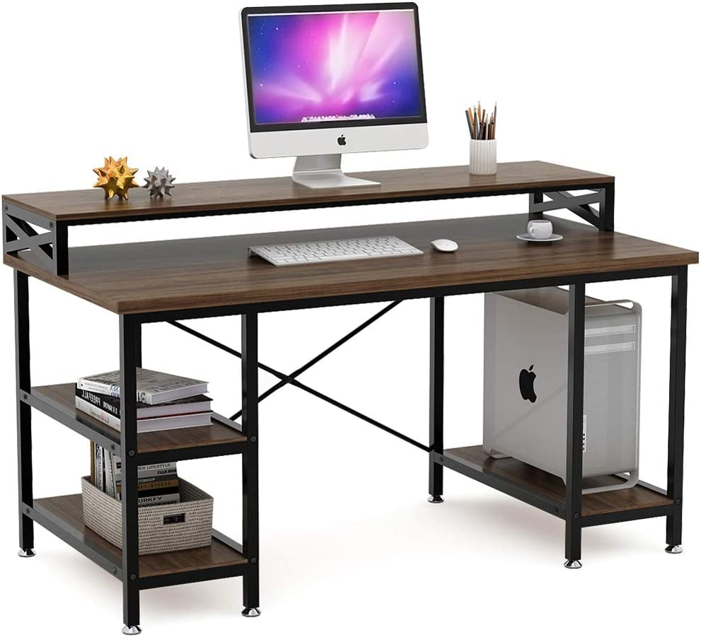 Tribesigns Computer Desk with Storage Shelves, 32 inch Large Rustic Office  Desk Computer Table Studying Writing Desk Workstation with Hutch for Home