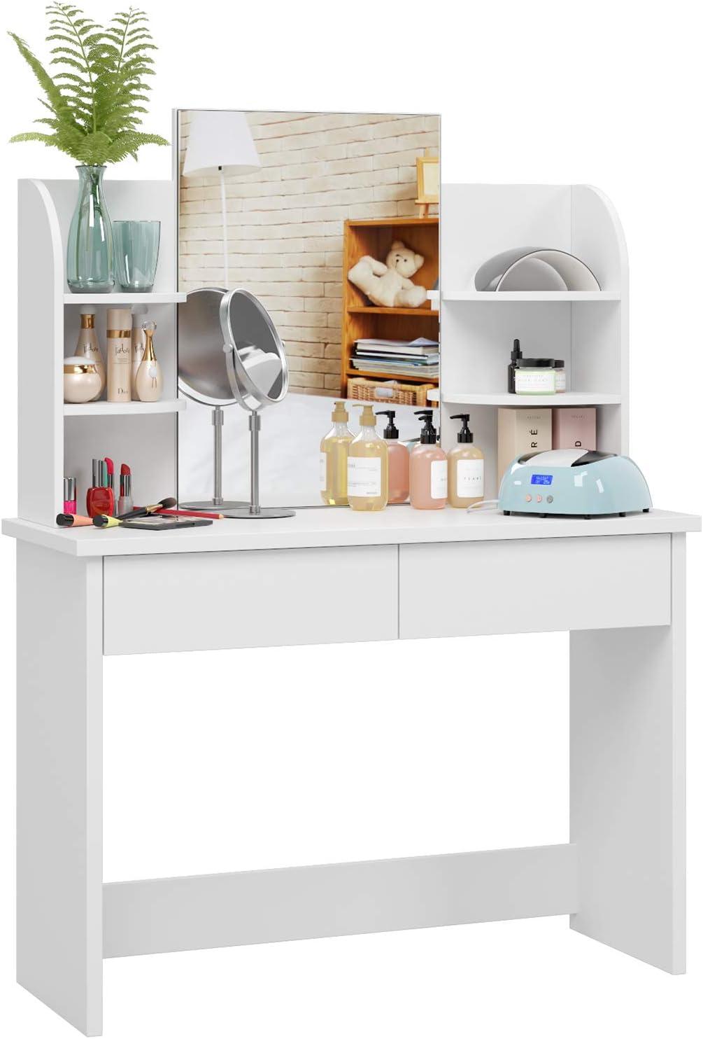 Homfa Tocador con Espejo Mesa de Maquillaje Tocador de Dormitorio con 17  Cajones 17 Estantes Blanco 17x170x11717cm