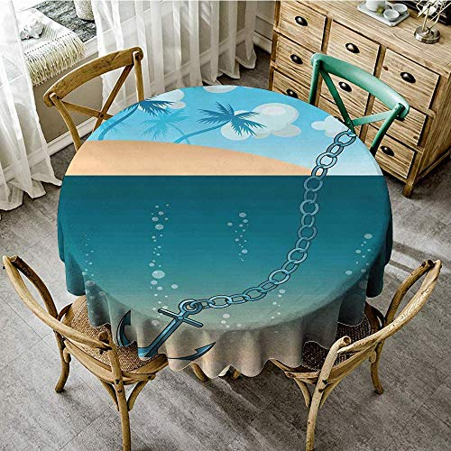 DONEECKL Polyester Tablecloth Anchor Hawaiian Beach Scenery with Palms and Ship Anchor in The Water Near Tropic Island Easy to Clean D51 Blue Cream