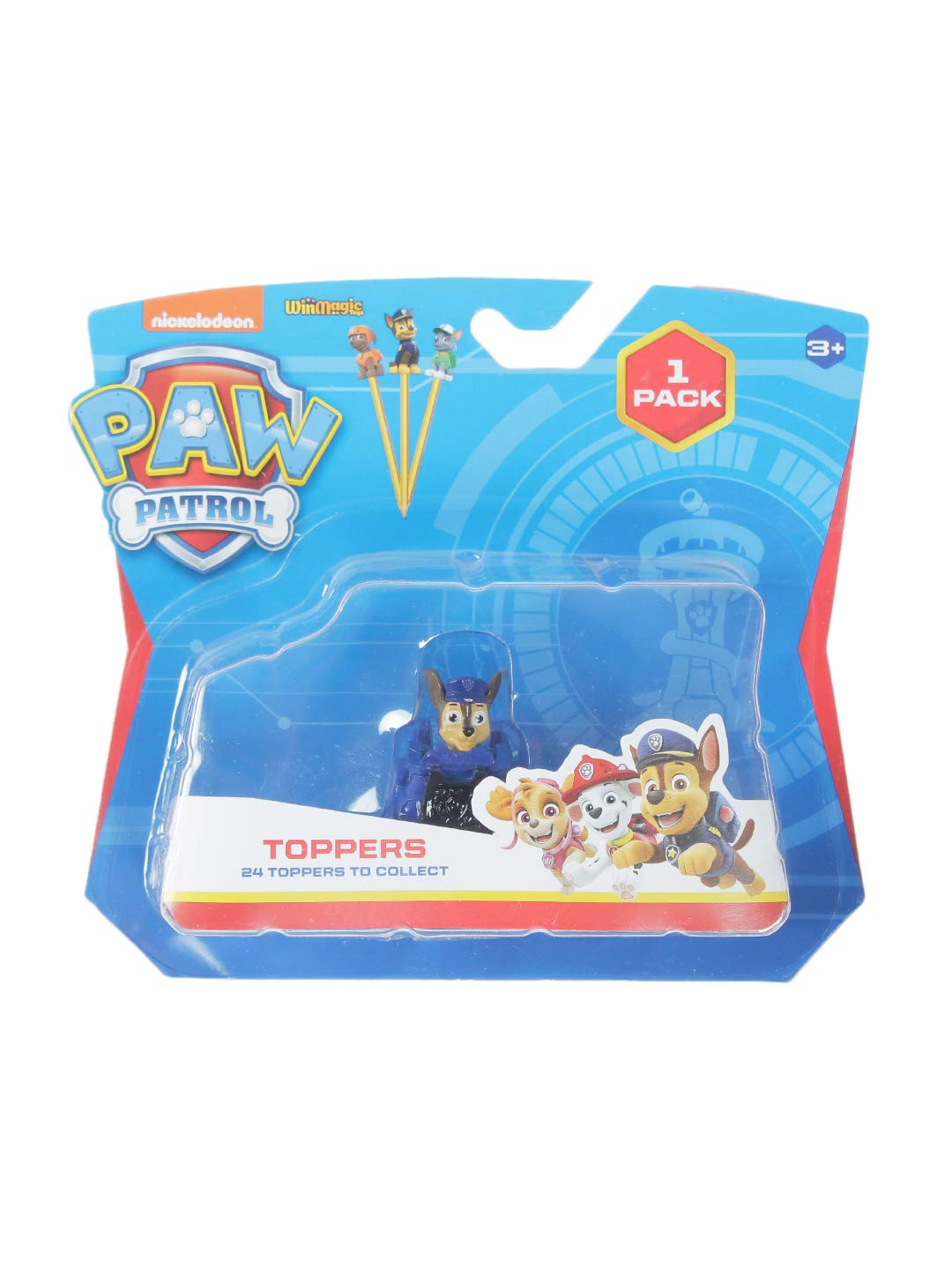 Paw Patrol Pencil Toppers 1 PC Blister (S1) - Chase with Police Vehicle for Kids 3+ & Above- Multicolor