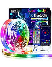 15M Cozylady Smart LED Strip Lights 50FT - App Controlled LED Light Strips - RGB Music Sync LED Lights Strip for Bedroom Decor, Room Decor, Children's Room