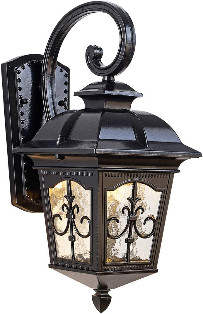 EERU Outdoor Waterproof Wall Sconce Exterior Wall Lantern Light Fixture Rustic Wall Light with Aluminum Housing Plus Exquisite Glass for Exterior House Garage Deck Patio Porch Lighting