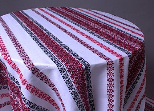 Hanukkah Sale Decorative Tablecloth with Ukrainian Ornament Weddfing plahta Ethnic White red Black 300x150 cm / 118