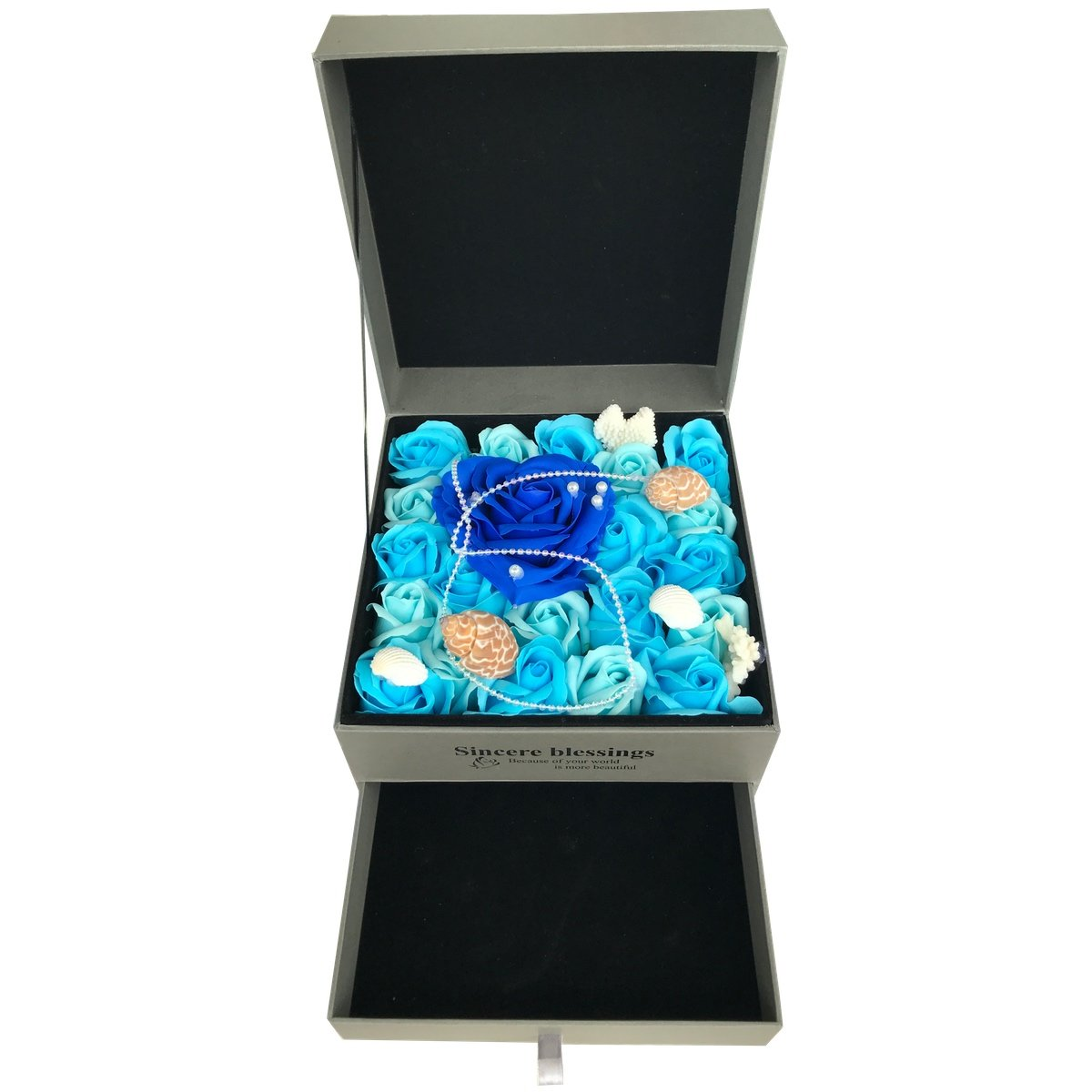 LongBang Jewelry Storage Box with Beautiful Soap Rose Flower, Great Gifts for Anniversary, Birthday, Christmas and Valentine's Day - Ocean Blue Rose