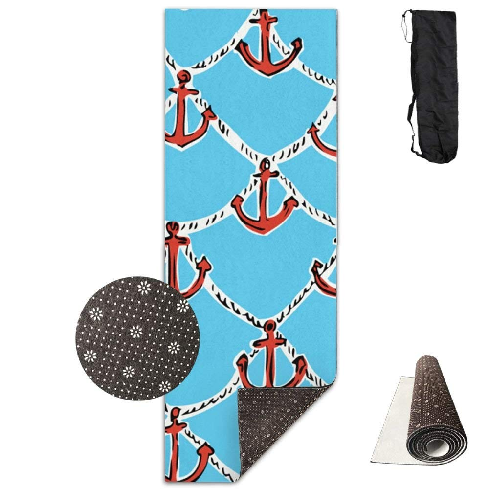Steamship Anchor Pattern Deluxe Yoga Mat Aerobic Exercise Pilates