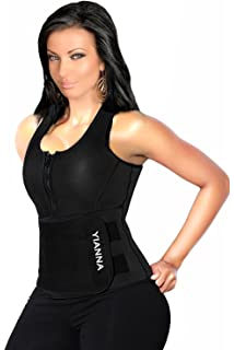 72fbb3b6a2 YIANNA Sweat Neoprene Sauna Suit Tank Top Vest with Adjustable Shaper Waist  Trainer Belt