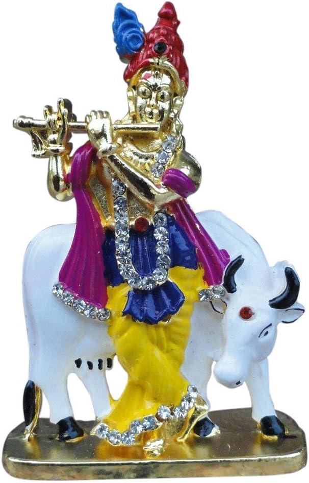 Artisans Orissa Krishna with Cow God Idol for Car Dashboard/Home/Office Item