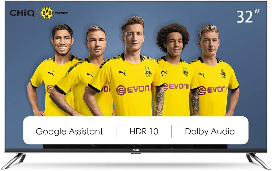 CHiQ Televisor Smart TV LED 32 Pulgadas, HD, HDR10/HLG, Android 9.0, WiFi, Bluetooth, Google Assistant, Netflix, Prime Video HDMI, USB - L32H7A
