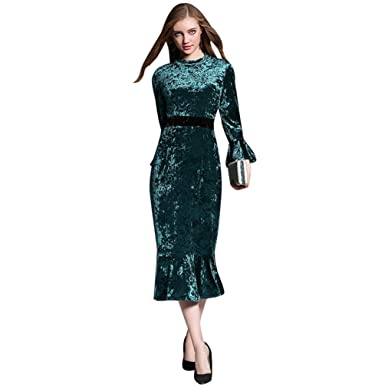 YiLianDa Womens Formal Evening Flared Sleeve Velvet Dresses Ball Gown Prom Dresses For Women Green S