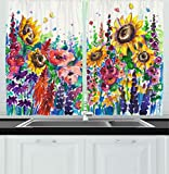 Contemporary Kitchen Window Treatments Ideas Ambesonne Kitchen Decor Collection, Floral Watercolor Style Wildflowers Country Kitchenware Flowers Art Print , Window Treatments for Kitchen Curtains 2 Panels, 55X39 Inches, Yellow Purple Red Green