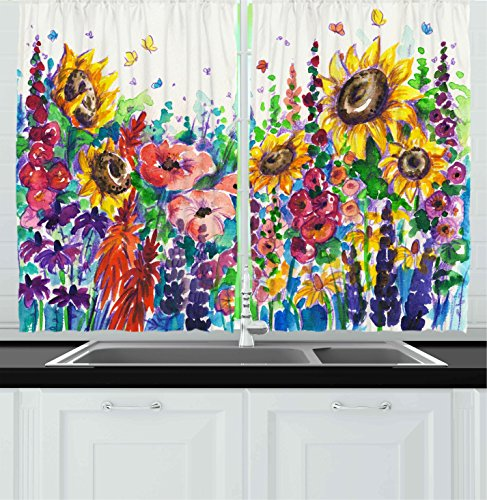 Ambesonne Kitchen Decor Collection, Floral Watercolor Style Wildflowers  Country Kitchenware Flowers Art Print , Window Treatments for Kitchen  Curtains 2 ...