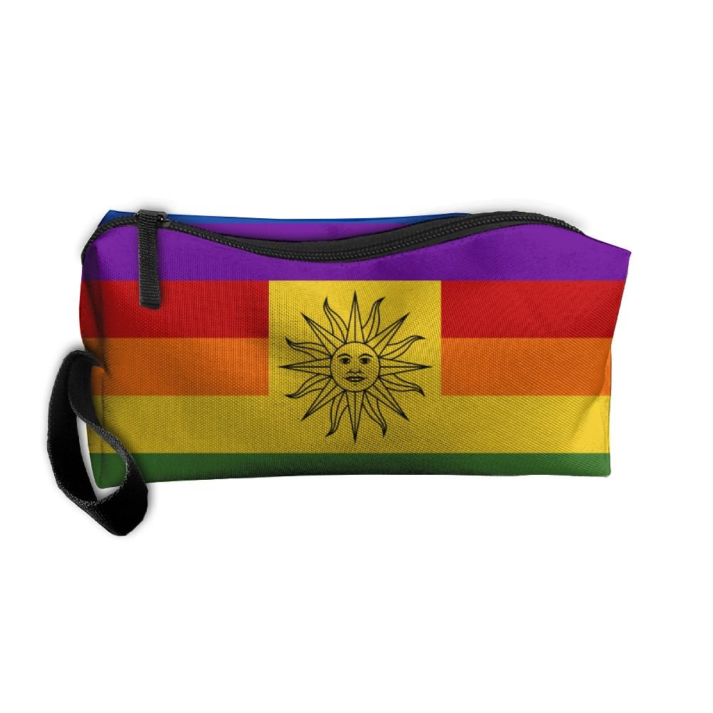 bd0c4128c7b5 WEEDKEYCAT Rainbow LGBT Gay Pride Uruguay Flag Travel Cosmetic Bag ...
