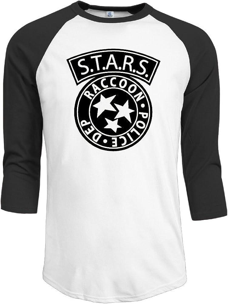Algodón S.T.A.R.S. mapache Policía de la ciudad, Zombie hombre 3/4 Manga béisbol camiseta camisas: Amazon.es: Ropa y accesorios