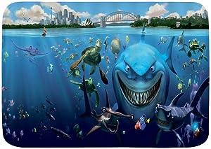 "LOSUMIGE Bath Mat,Shark Ocean Turtle Tropical Animal Underwater Sea World Scene Cartoon Finding Nemo,Plush Bathroom Decor Mat with Non Slip Backing, 29.5"" X 17.5"""