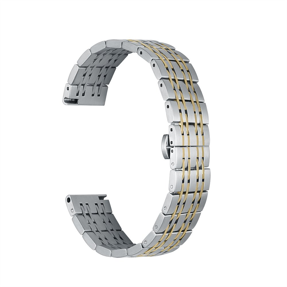 22mm Watch Band Stainless Steel Metal 22mm 20mm 18mm iStrap Replacement Bracelet Strap for Men's Women's Watch Gold