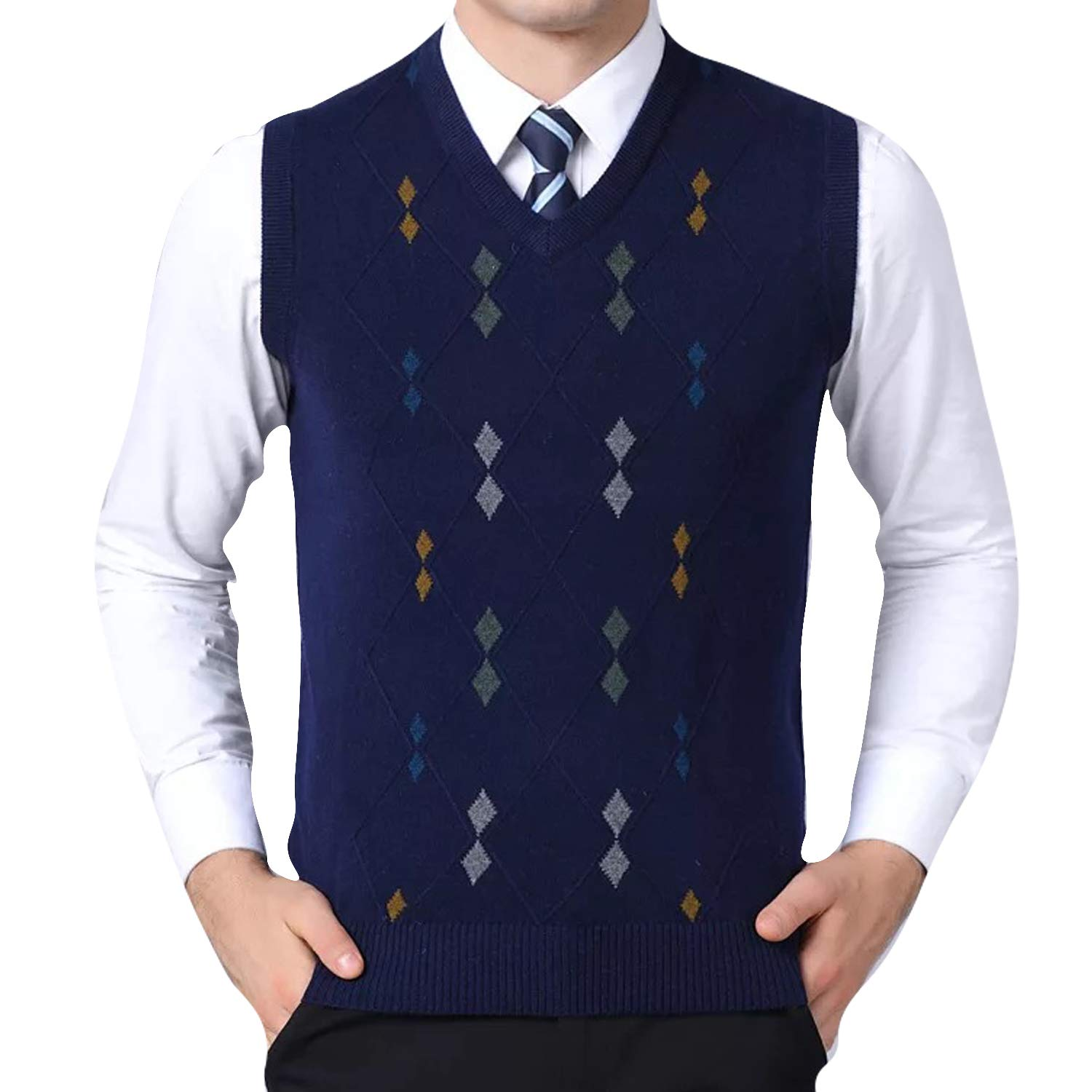 Eradria Men's Plaid V-Neck Sleeveless Casual Wool Vest Waistcoat Sweater Cardigans Tank Tops Blue)