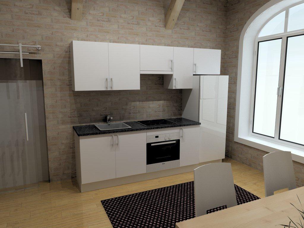Cocina económica completa con electrodomésticos 2,40 m blanca