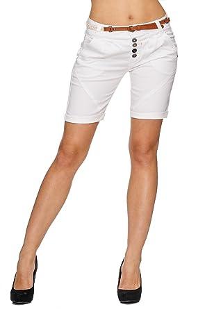 2565d125c2459e Sublevel Damen Bermuda Shorts Kurze Chino Hüfthose mit Gürtel D1787   Amazon.de  Bekleidung