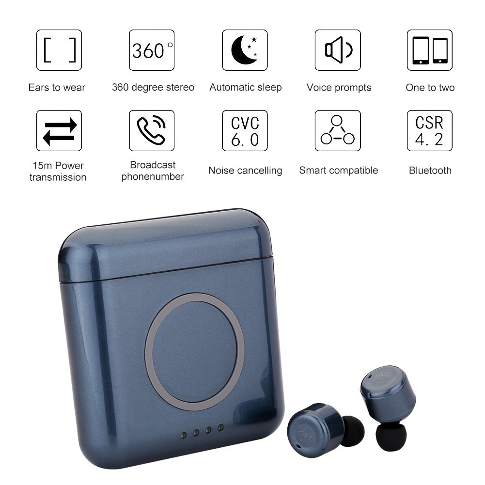 Bluetooth Headphones Wireless Earphones with Magnetic 5200mAh USB Power Bank Wireless Charging Case, Sensitive Touch Control Wireless Earbuds, In-Ear Stereo Headset for Samsung/ iPhone/ Android/ IOS (blue)
