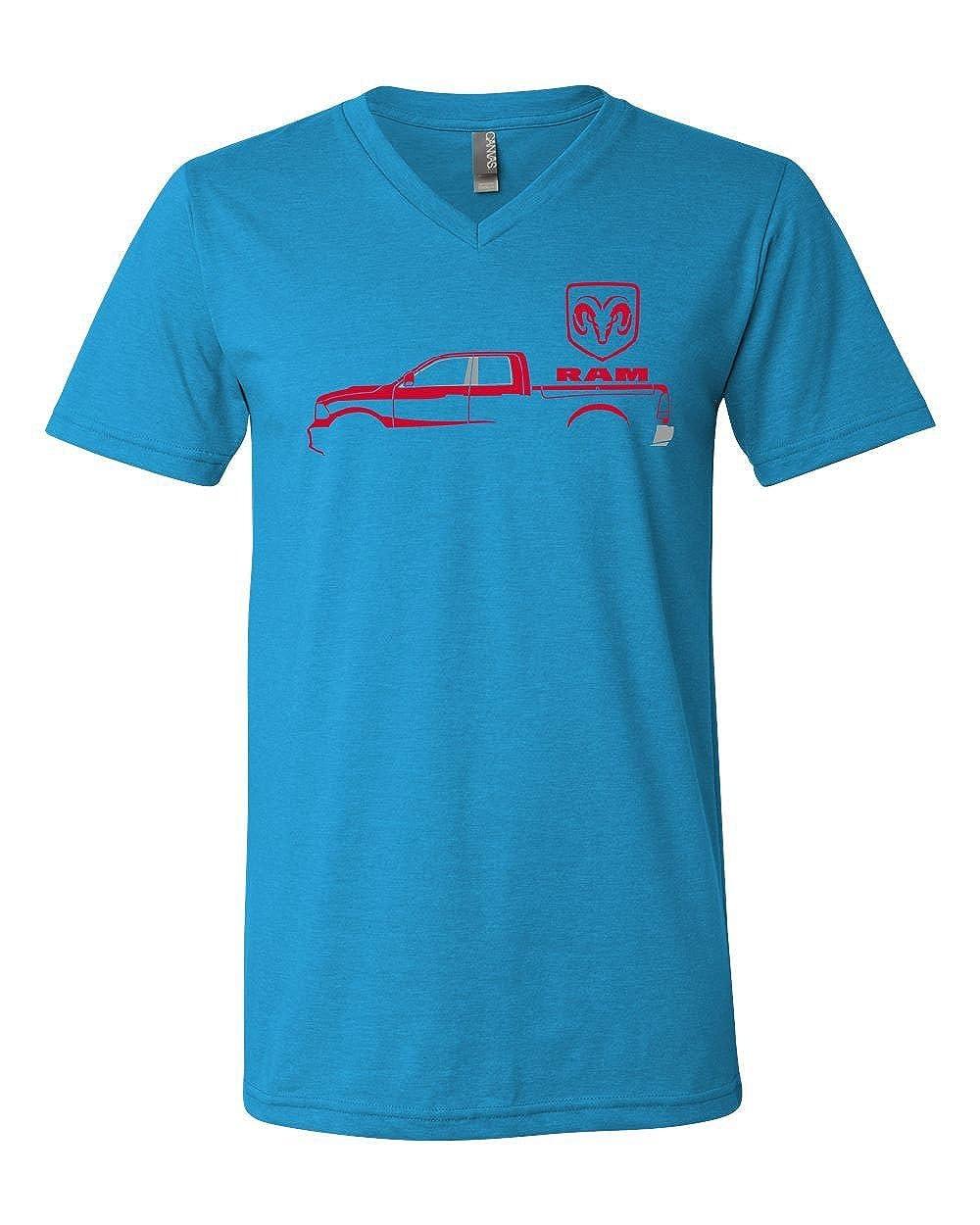 Dodge RAM Red Truck V-Neck T-Shirt Heavy Duty Pickup Truck Tee