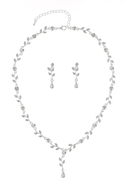 Elegant Vine Design Bridal Wedding Crystal Necklace Earrings Set