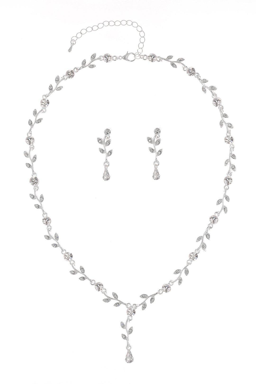 Elegant Vine Design Bridal Wedding Crystal Necklace Earrings Set - Silver Plated Clear Rhinestones N195