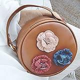 Women Trendy Round Handbag Chain Strap Tassel Shoulder Crossbody Bag Small Purse Wallets (Brown)