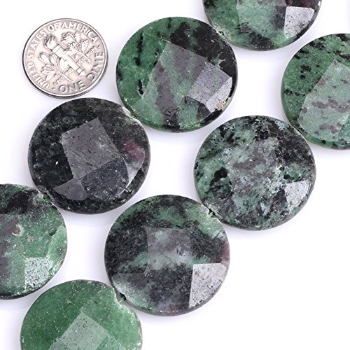 - GEM-inside Green Ruby Zoisite Gemstone Loose Beads Natural 24mm Coin Faceted Crystal Energy Stone Power for Jewelry Making 15''