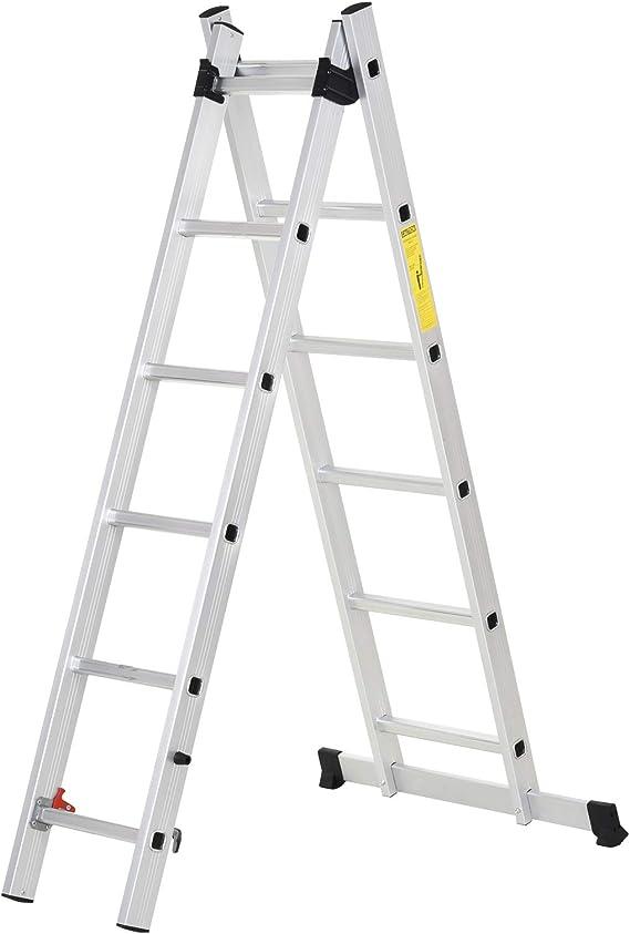 HOMCOM Escalera Aluminio con Estructura Triangular de Tijera Plegable Portátil 2 Formas de Uso Pie Antideslizante Articulación Rail Máx. 150kg Altura 160-249cm Plata: Amazon.es: Bricolaje y herramientas