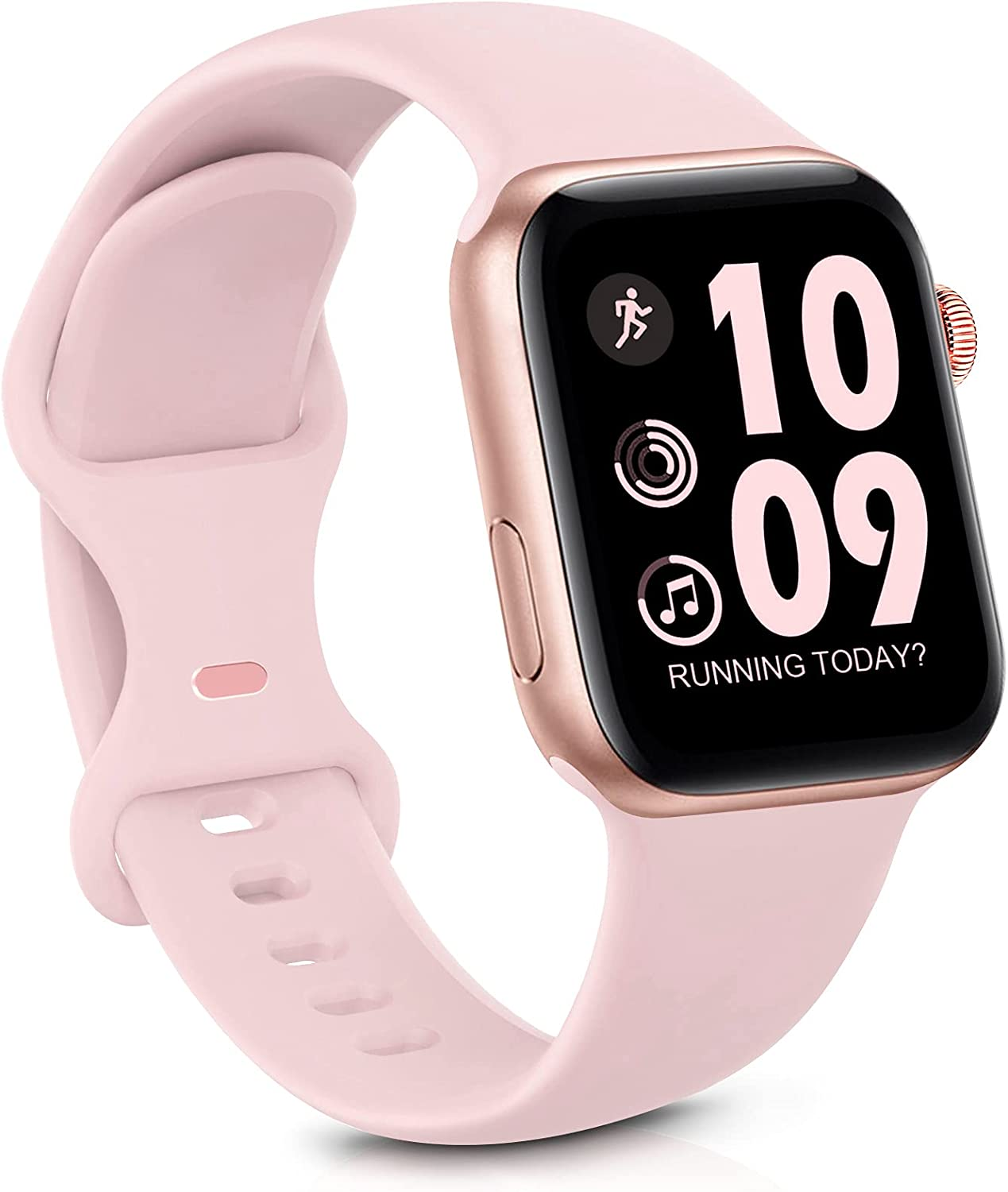 GeekSpark Sport Band Compatible with Apple Watch Band 38mm 40mm for Women Men, Soft Silicone Replacement Strap Band for iwatch SE/Series 6/5/4/3/2/1 Barbie Pink 38mm/40mm S/M