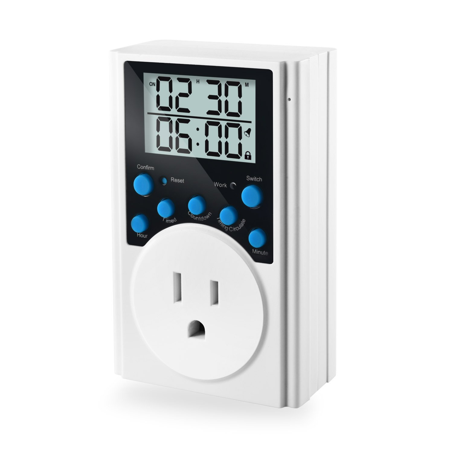 Programmable Plug-in Light Timer for Electrical Outlet Indoor Digital Timer Switch with Countdown and Interval Circulation, 1 Pack