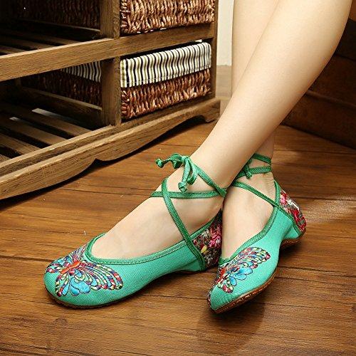 Nationale Vlinder Borduurwerk Dames Wedge Oxfords Schoenen Flats Dans Sneaker Groen