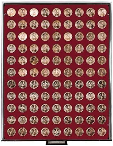 Bandeja de monedas 99 compartimentos, cada uno de 19,25 mm Ø [Lindner 2902], por ejemplo para 2 Euro-Cent, 2 Pf., 10 Kronen Österreich (oro), 10 SFRS Vreneli (oro), 10 Rp., 10 CHF -