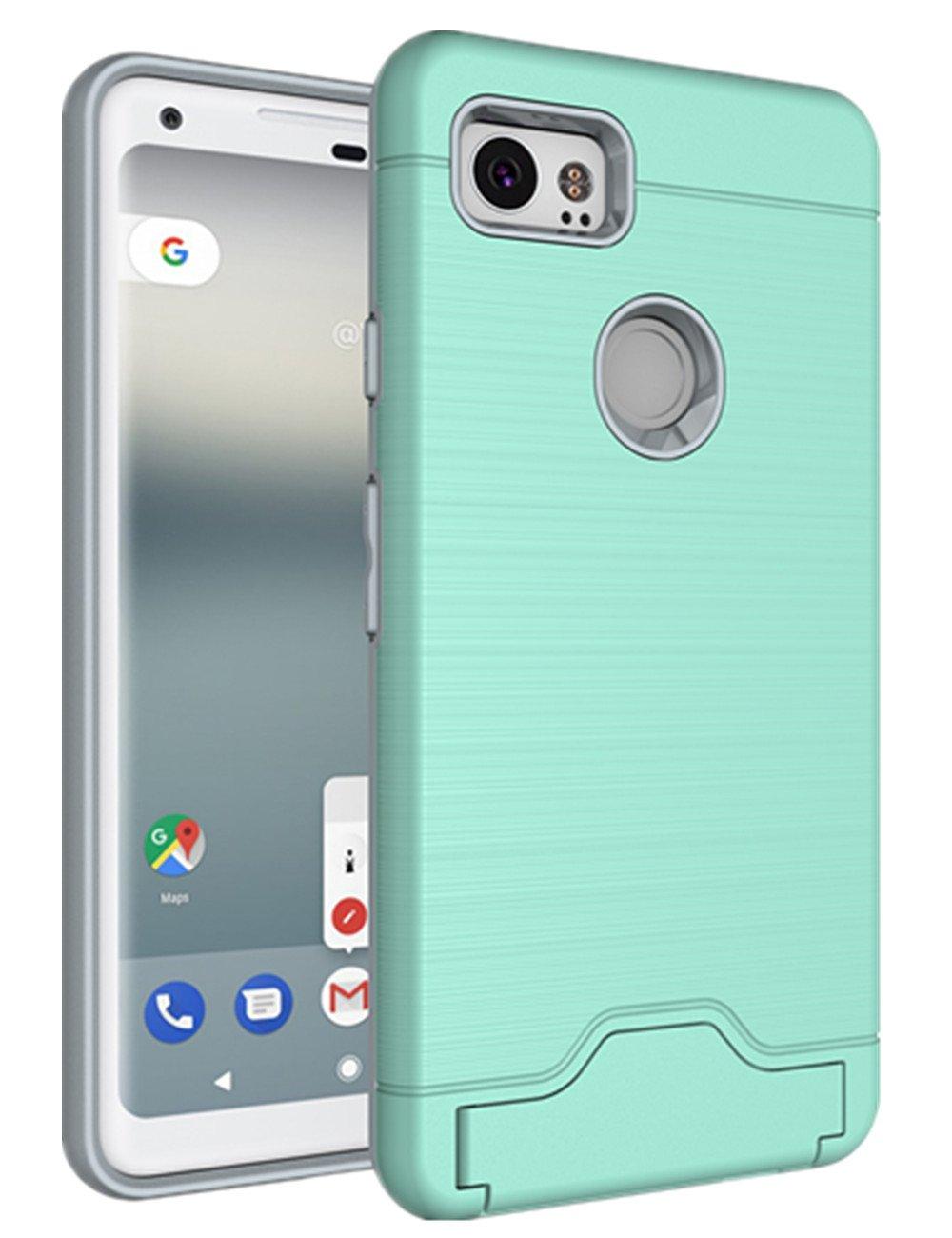 Google Pixel 2 Case, KAMII [Card Slot Holder] Shockproof Slim Fit Dual Layer Hybrid Wallet Case Protective Hard Cover Skin Card Holder with Built-in Kickstand for Google Pixel 2 (2017) (Aqua) by KAMII (Image #1)