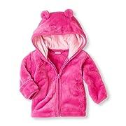 Noubeau Infant Baby Boys Girls Fleece Ears Hat Lined Hooded Zipper Up Jacket Coat Tops Outwear Overcoat Warm Fall Winte (Pink, 0-6 Months)
